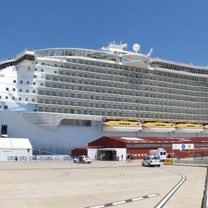 The gigantic Royal Caribbean Allure of the Seas at dock.